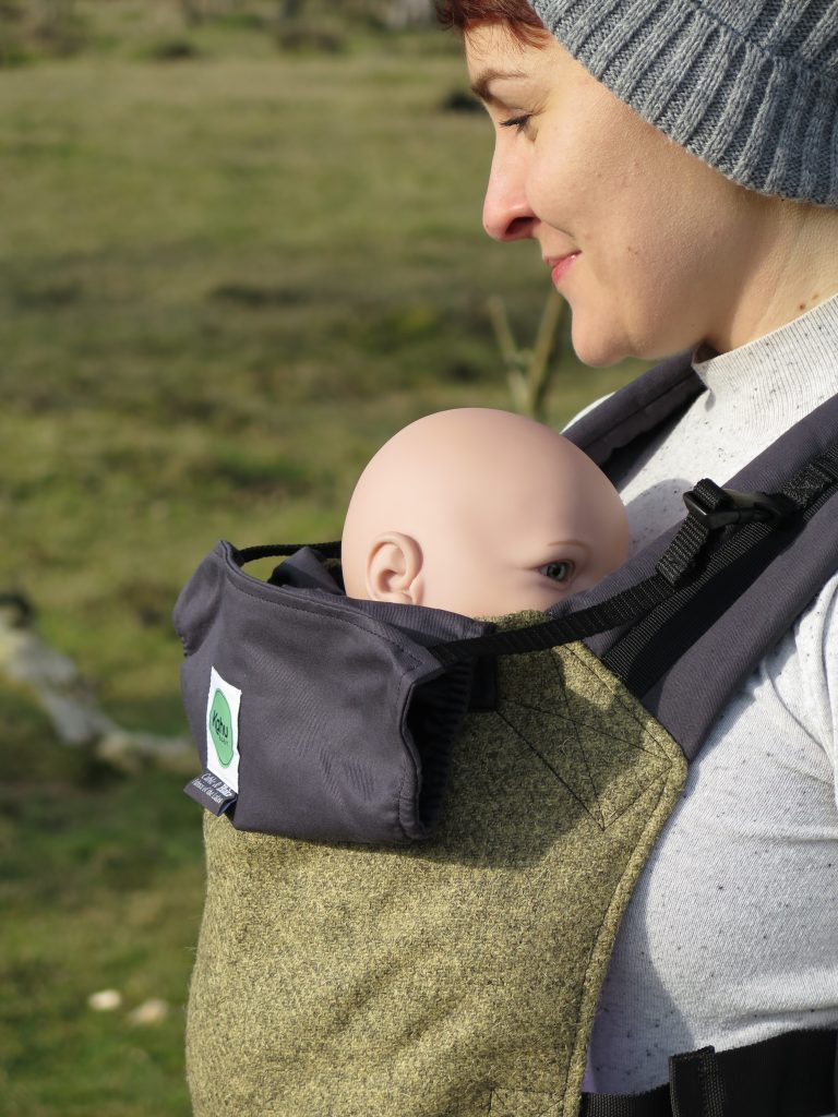 Carry your baby in luxury organic cotton and Herdwick tweed
