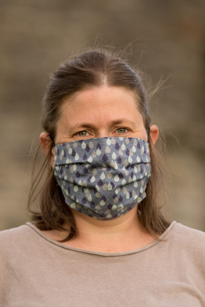 KahuBaby face mask in Jojo Coco Design Lakeland Rain, double layer 100% cotton for coronavirus protection