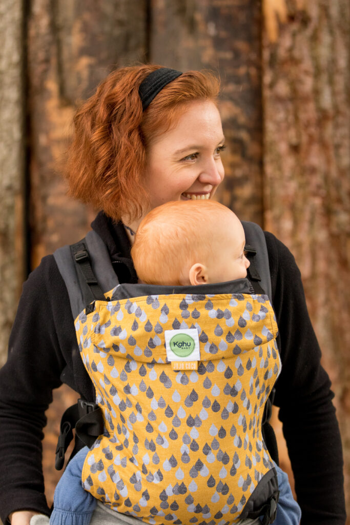 KahuBaby Carrier in Yellow Lakeland Rain, a Jojo Coco and KahuBaby collaboration