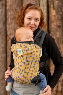 KahuBaby Carrier in Mustard Lakeland Rain, a Jojo Coco and KahuBaby collaboration